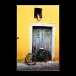 Portugal Bike street yellow wall door Europe