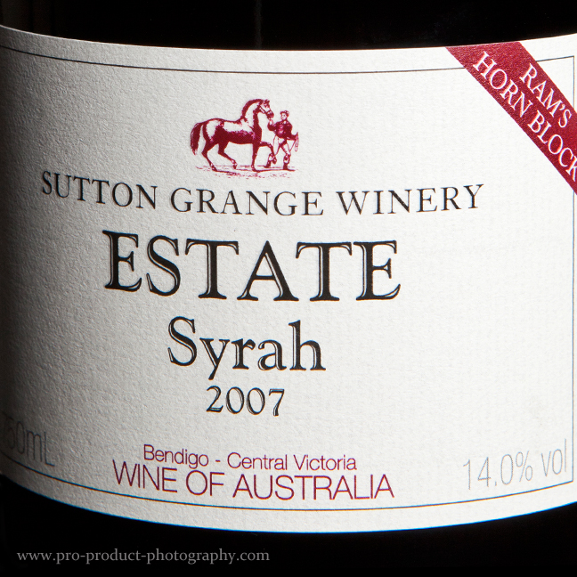 Winery Estate Sutton Grange Bottle Photography Melbourne
